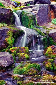 Waterfall near Boulder Pass, Glacier National Park, Montana