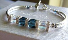 Montana Blue Aurora Borealis Swarovski Crystal Bangle Bracelet, via Etsy.