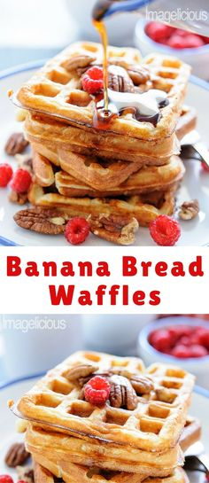 We had bananas that needed to either be turned into a Banana Bread asap or be thrown out. I hate throwing food away and I did not feel like making a cake, so I thought I'd come up with my own Banana Bread Waffles. They turned out really good.
