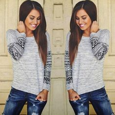 Gray Tribal Sleeve Top New in bag. Gray and black tribal print top. Lightweight cotton blend and perfect for fall!   Available in small, medium & large; runs a bit small so I suggest to go up one from your usual size.  DON'T BUY THIS LISTING! Comment the size and I'll personalize a listing for you   PRICE IS FIRM NO TRADES Tops
