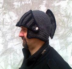 Boyfriend gift Winter hat Knight Helmet Hat Mens by paintcrochet Mens Knit Beanie, Crochet Winter Hats, Crocheted Hats, Knights Helmet, Crochet Instructions, Crochet Tutorials, Crochet Projects, Crochet Tank, Crochet Hook Sizes