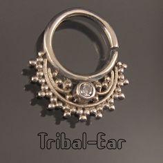 Septum Nose Ring Plain Silver Zircon Piercing Boucle Jewellery Tribal Ear 055