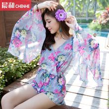 Morning Dew - Floral Print Bell-Sleeve Chiffon Playsuit