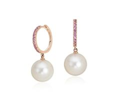 Pink Sapphire and Freshwater Cultured Pearl Drop Hoop Earrings in 14k Rose Gold (9.5mm)