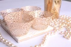 Rose Gold Lace Filigree MINI Cupcake Wrappers, Shimmer Blush Pink Laser Cut Lace Cupcake Wrapper/Liner for MINI cupcakes - Set of 12