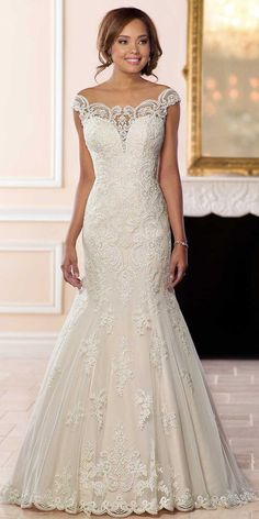 Gorgeous Tulle Off-the-shoulder Neckline Natural Waistline Mermaid Wedding Dress With Lace Appliques & Beadings Wedding Dress by Milla Nova White Desire wedding dresses 2019 Bridal Collection Lace Wedding Dress, Sexy Wedding Dresses, Wedding Attire, Bridal Dresses, Wedding Dress Styles, Wedding Gowns, Lace Dress, Lace Weddings, Prom Dress