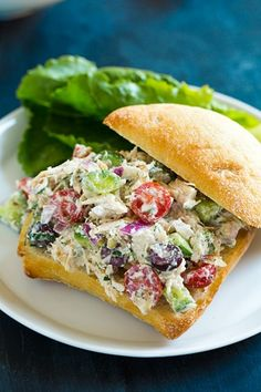 Greek Chicken Salad Sandwiches - this chicken salad is so delicious!! You can put it in wraps or pita pockets too.
