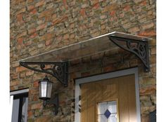 Scroll design glass door canopy