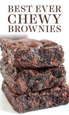 Chewy Brownies, Best Brownies, Boxed Brownies, Cocoa Powder Brownies, Brownies From Scratch, Chocolate Chip Brownies, One Bowl Brownies, Baking Brownies, Cake Brownies