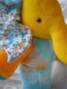 Sunshine Summer ELEPHANT yellow sun turquoise Home Decor soft stuffed plush animal OOAK handmade by TALLhappyCOLORS