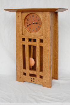 Craftsman Mantel Clock  Light Oak by MtAngelArtisanCopper on Etsy, $450.00