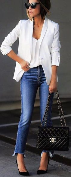 How to wear white blazer work outfits business casual 23 super ideas - Spring Work Outfits Fashion Mode, Fashion Over 40, Look Fashion, Trendy Fashion, Fashion Trends, Womens Fashion, Fashion Ideas, Fashion Spring, Fashion Black