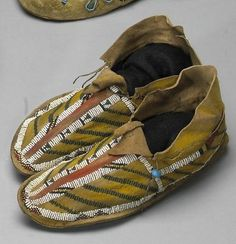 A pair of Apache beaded moccasins