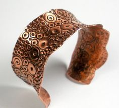 Stamped Copper Cuff Bracelet, Anticlastic Cuff, Exotic Copper Jewelry,  Textured Copper, Metalwork, Colorful Heat Patina- Circles and Dots on Etsy, $169.00