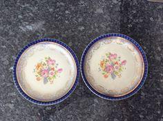 NASCO Empress 22t gold gilt Vintage plate-floral blue edge-collectible Cottage chic-antique dish- kitchen decor-gold wreaths by VintageTreasuresRus on Etsy