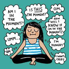 Meditation. Yoga funny Cartoon By Gemma Correll