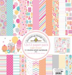 Sugar Shoppe Collection Launch Party+ Giveaway with Doodlebug Design - check out ALL these pretty papers in the 12x12 paper pack