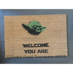 XL Star Wars Yoda door mat welcome you are mat by DamnGoodDoormats, $62.00