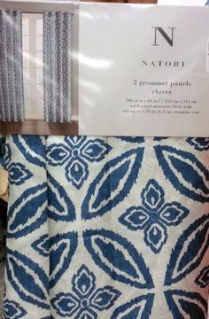 *NEW* Natori Shiny Indigo Blue Clover Window Curtain Panels 100x84 PAIR Grommet