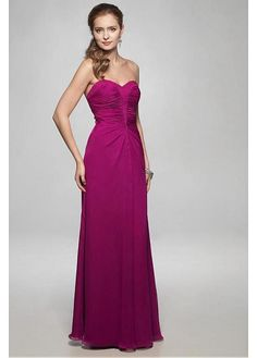 Strapless chiffon dress with sweetheart neckline and rouched bodice. The lace-up back completes the look.