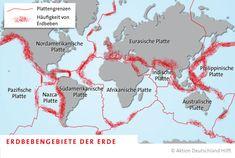 Tektonische Platten und die Erdbeben-Gebiete der Erde.