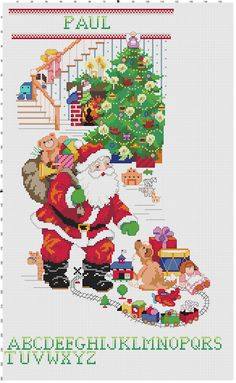 Cross stitch santa claus Christmas Stocking