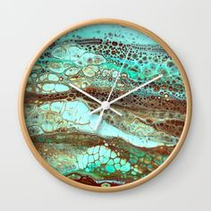 Abstract Annemarie Wall Clock acrylic pour alcohol ink mixed media