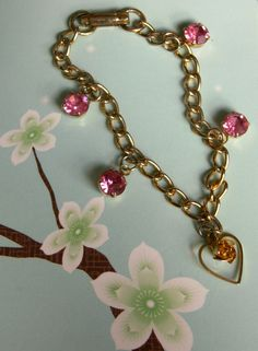 Gold Tone Pink Rhinestone Dangle Heart Charm Bracelet Small Wrist Bracelet 6.25 Inch Chain by dazzledbyvintage on Etsy