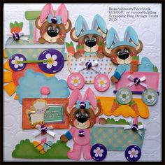 """""""Hoppin Easter""""  handmade tear bear paper piecing for scrapbook album pages."""
