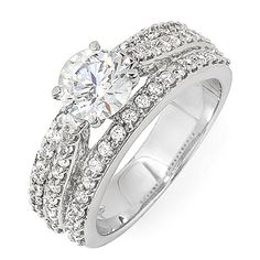 GIA Certified Diamond Anniversary Round Vintage Style 1.80 Carat 18k White Gold #DiamondsByElizabeth #SolitairewithAccents