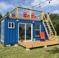"WEBSTA @ tinyhouse - The 160 Sq Ft ""Rustic Retreat"" shipping container tiny home built by @backcountrycontainers near Houston, Texas"