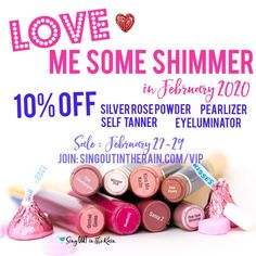 February SeneGence & LipSense Sale 2020 - purchase Eyeluminator, Self Tanner, Pearlizer and Silver Rose Powder at a discount ONLY by joining this Facebook Group : singoutintherain.com/VIP.  Each month the sale includes 1 ShadowSense and 1 Gloss as well.  Go JOIN now to see what they are this month and get a discount!
