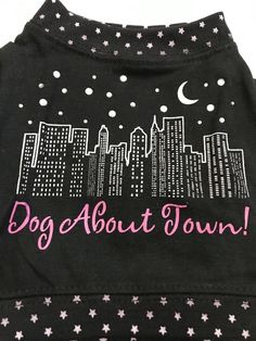 Pet Clothes Apparel Outfit Dog Tshirt Dog About Town Skyscraper Moon Stars Black #Unbranded