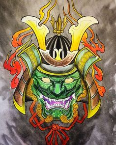 #samurai #londontattoos #hannyamasktattoo #terrakiu #watercolor #terrakiutattoo…