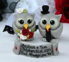 Wedding owl cake topper grey love birds gothic by PerlillaPets