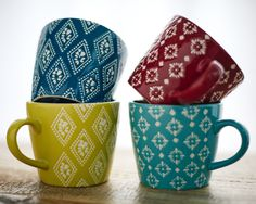 These colourful mugs from Carolyn Donnelly Eclectic will liven any warm beverage and lend designer detail to your kitchen or table Designer Collection, New Kitchen, Beverage, Create Your Own, Warm, Mugs, Detail, Retro, Nice
