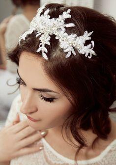 swarovski and beaded vine lace headband #bridal #hair #accessory #wedding #headband http://www.yaldaashrafi.com/collections/frontpage/products/beaded-vine-lace-headband