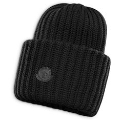 Moncler Ribbed-Knit Cap ($300) ❤ liked on Polyvore featuring men's fashion, men's accessories, men's hats, black and mens caps and hats