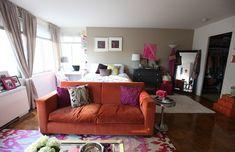 Cupcakes for Breakfast: DC studio apartment tour – orange couch