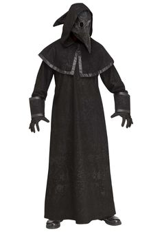 Black Plague Doctor Costume for Adults - FOREVER HALLOWEEN Scary Halloween Costumes, Adult Costumes, Halloween 2019, Spooky Halloween, Halloween Decorations, All Black Costumes, Black Hooded Robe, Black Plague Doctor, Werewolf Costume
