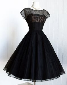 Beautiful 1950's black nude illusion, scalloped lace, pintucked chiffon, full circle skirt cocktail party dress. No maker label.