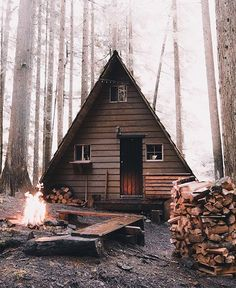 Cabin Life Photo by (Outdoor Wood Tiny Cabins) Tiny House Cabin, Cabin Homes, Log Homes, Tiny Homes, A Frame Cabin, A Frame House, Le Logis, Cabin In The Woods, Cabins And Cottages