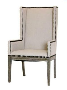 Linen Nailhead Dining Chair With Arms Natural Upholstery And Wood Home Living Room