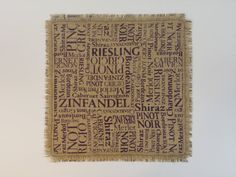 Hey, I found this really awesome Etsy listing at https://www.etsy.com/listing/231634255/set-of-2-burlap-placemat-wine-titles