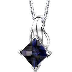 Princess Cut Created Sapphire Pendant Necklace Sterling Silver Rhodium Nickel Finish 3.00 Carats available at joyfulcrown.com