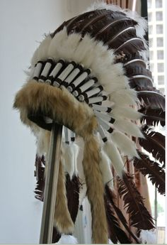 Brown Turkey Feather Indian Style Headdress Warbonnet Costume Feathers War Bonnet