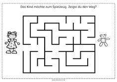 Einfachere Labyrinthe, Labyrinthe, Wahrnehmung, räumliche Orientierung, visuelle Wahrnehmung, Arbeitsblatt, kostenlos, Eltern, Kinder, Legas... Maze Puzzles, Brain Teasers, Teaching Materials, Kids Learning, Lesson Plans, Worksheets, Kindergarten, How To Plan, School