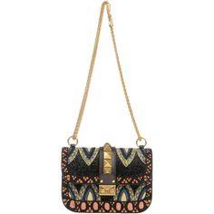 Valentino Garavani Cross-body Bag (105.770 RUB) ❤ liked on Polyvore featuring bags, handbags, shoulder bags, black, crossbody handbags, valentino handbags, valentino crossbody, leather cross body purse and leather handbags
