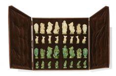 """Pierre LEBASQUE (1912 - 1994) - Spectaculaire jeu d'échec en céramique comportant[...], mis en vente lors de la vente """"Art Nouveau - Art Déco - Design"""" à Millon et Associés Paris  """