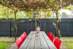 A red accent, shown through the chairs, complete this rustic patio.